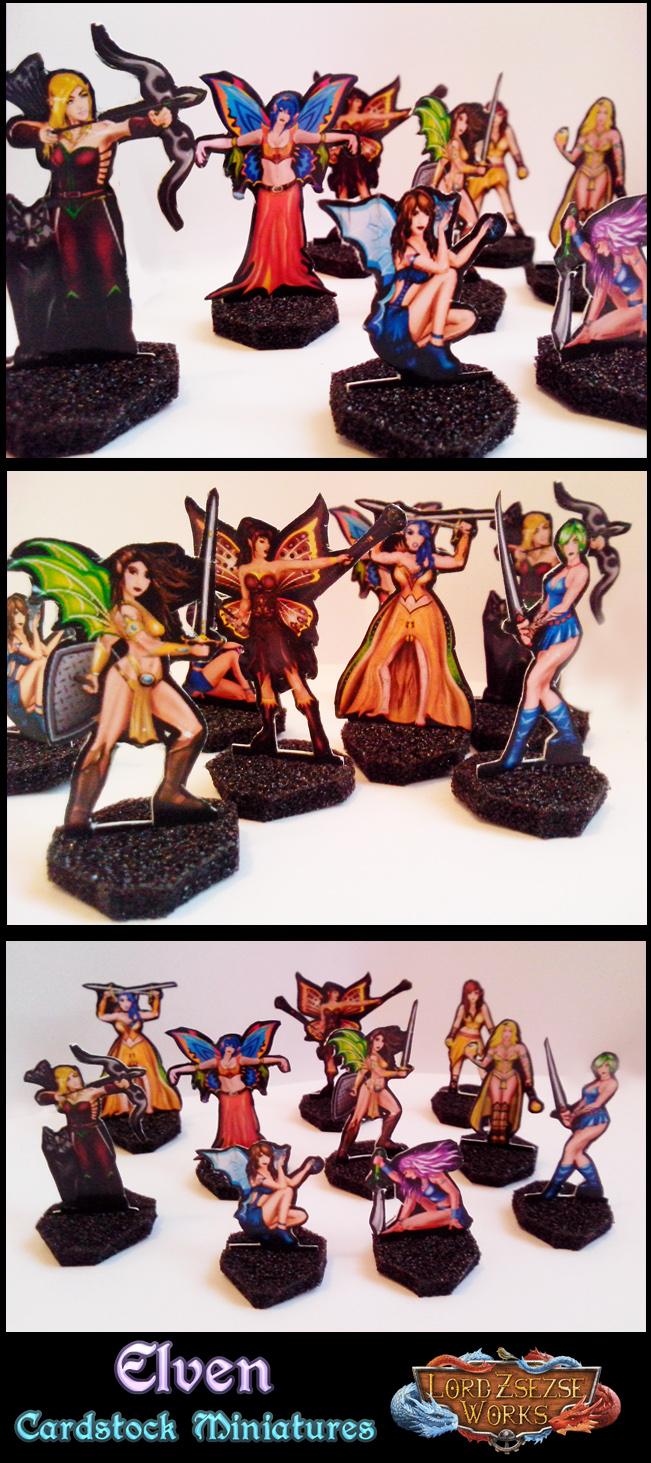 Elven Cardstock miniatures
